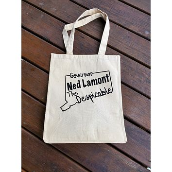 Ink Trendz® Governor Ned Lamont The Despicable Connecticut 12oz. Natural Canvas Cotton Reusable Grocery Bag Market Place Tote