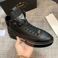 PRADA Men Fashion Boots fashionable Casual leather Breathable Sneakers Running Shoes