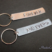 Keychains for Couples, Forever And Ever, Aluminum Hand Stamped Metal