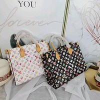 LV 2020 new women's wild painted printed letter shopping bag