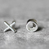 Tiny XO Earrings, Sterling Silver XO Stud Earrings, x Earrings, o earrings, Minimalist Studs earrings, Minimalist Jewelry, gifts for her