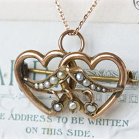 Victorian Necklace | Antique Necklace | Double Heart Necklace | Rose Gold Jewelry | Bridal Necklace | Pearl Necklace | Antique Brooches
