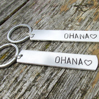 Keychain for Family Members or Best Friends Set of Two, Ohana, Hand Stamped Aluminum Key Chains