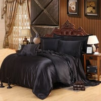 Hot Luxury Pure Color Satin Silk Bedding Set 4PCS Family Bed Linen Solid Black Pattern Include Duvet Cover Flat Sheet Pillowcase