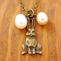 Easter Bunny Necklace - easter egg necklace, easter rabbit, easter necklace, rabbit necklace, bunny necklace