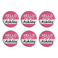 Ashley Hello My Name Is Plastic Resin Button Set of 6