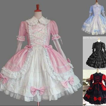 Lace Slim Princess Sweet Lolita Dress With Removable Collar And Sleeves L26