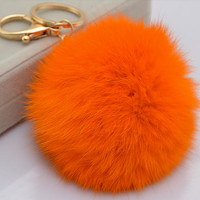 Rabbit fur pompom ball plush keychain for car key ring Bag Pendant ORANGE