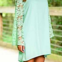 Mint Green Lace Long Sleeve Dress