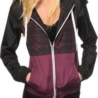 Empyre Sutton Black & Burgundy Tribal Windbreaker Jacket