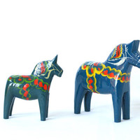 2 Swedish DALA HORSES, Pair of Wooden Handpainted, Dark Blue, G.A. Olsson, Made in Sweden, Scandi Scandinavian Modern Decor, Folk Art