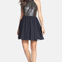 Junior Women's Hailey Logan Sequin Halter Dress,