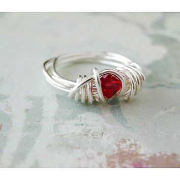 Siam Crystal Argentium Silver Wrapped Ring - Size 2.5 Pinkie