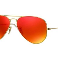 RayBan Aviator Flash Lenses Sunglasses - Gold Orange Flash 3025 58-14