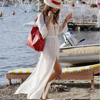 Summer Women's Fashion Sexy See Through Maxi Dress Dress Chiffon White Split Rashguard [4919712260]