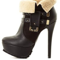Shearling-Cuffed High Heel Booties by Charlotte Russe - Black