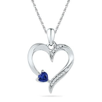 Sterling Silver Womens Lab-Created Blue Sapphire & Diamond Heart Love Pendant 1-4 Cttw