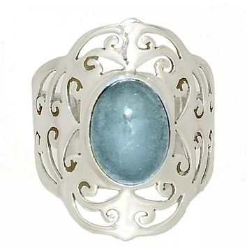 Aquamarine Cut Out Filigree Sterling Silver Ring
