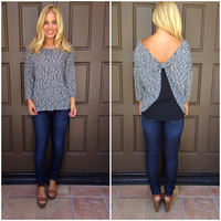 Knotty By Nature Knit Top - BLACK & WHITE