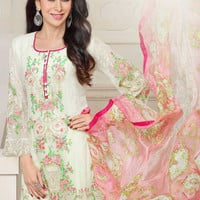 Charming Full Sleeves Designer Suit with Fashionable Zari, Stones and Lacework