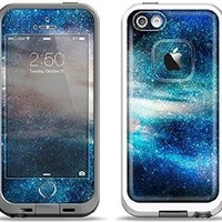 The Blue & Gold Glowing Star-Wave Apple iPhone 5-5s LifeProof Fre White Case and Skin Set (White LifeProof Case Included)