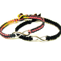 Infinity Bracelets, Set of Two, Black and Multicolor Macrame Hemp Jewelry, Pink Yellow Black, Free North American Shipping