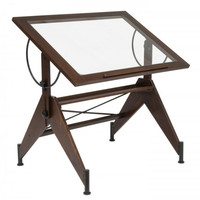 "Aries Glass Top Drafting Table (Dark Walnut/Black) (30""H x 42.00W x 31.00D)"