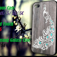 White Peacock Sketch Wood iPhone 4 4S 5 5S 5C , iPod Touch 4 5 and Samsung Galaxy S3 S4 Case