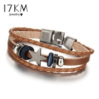 17KM 3 Color Vintage Punk Design Star Leather Bracelets For Women Men Wristband Female Multilevel Geometrical Bracelet Jewelry