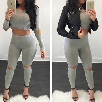 FASHION HOT TWO PIECE HOLE SUIT WOVEN