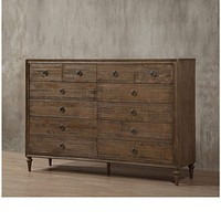 12 Drawer Wooden Dresser with Grain Details, Distressed Brown By Casagear Home