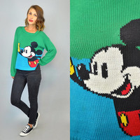 MICKEY MOUSE knitted vtg 80s blue/green disney novelty SWEATER, extra small-medium