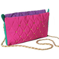 Vintage 80s Purse - Colorblock - Studded Purse - Studded Bag - Quilted Multi Colored Bag - Gold Chain Strap - 80s 90s - Grunge - Hipster