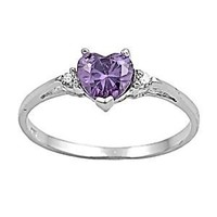 Sterling Silver 1.02ct Heart-cut Purple Amethyst & Russian Ice CZ Promise Friendship Ring, Amy (available sizes 4 to 9)