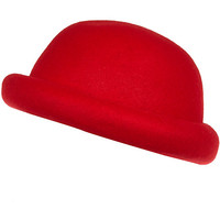 River Island Girls bright red bowler hat