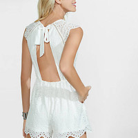 White Tie-back Scalloped Romper from EXPRESS