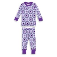Masala Baby 2-Piece Peppermint Medallion Long Sleeves Pajama Set in Purple