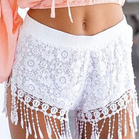 Lace Crochet Tasseled Shorts in Black or White