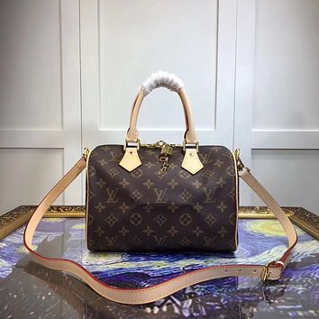 LV Louis Vuitton MONOGRAM LEATHER SPEEDY 35 HANDBAG SHOULDER BAG
