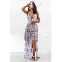 Fancy Free Lavender Maxi Ruffle Dress