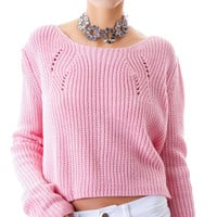 Moon Collection Dolly Oversized Knit Crop Top Pink