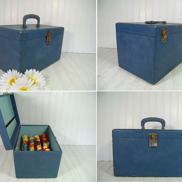 Vintage Beauty School Kit Denim Blue Wooden Case & Original Accessories - Retro Beautician's Supplies Tote - Curlers, Pins, Wraps Included