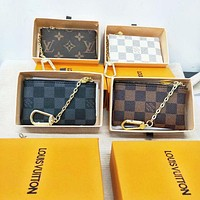 LV Louis Vuitton fashion classic chessboard chain key case wallet