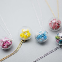 Real dried flowers glass orb Necklace. Real Flower ball necklace, umme