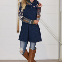 Too Much Fun Tunic & Scarf - Navy