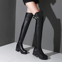 Womens Thigh High Boots Over the Knee 2015 Autumn Spring Boot Square Heel Shoes For Women Black Long Overknee Booties Plus Size
