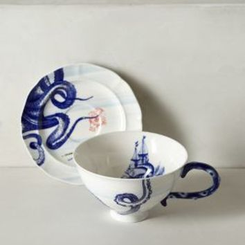 From The Deep Cup & Saucer by Anthropologie in Blue Motif Size: Cup & Saucer Dinnerware