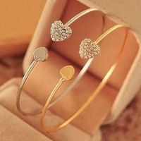 New Arrival Women's Crystal Love Heart Hand Cuff Open Bracelet Bangle Gold Silver Tone Gift 76M1