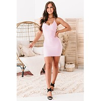 Date Night Delight Strappy Back Bodycon Dress (Pink)