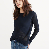 Womens Mixed Stitch Crew Sweater | Womens New Arrivals | Abercrombie.com